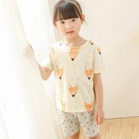 Cheap Sweet Kids Girls Cartoon Fox Outfits Short Sleeve Tops and Shorts 2pcs Sets Summer Cute Kids Clothing