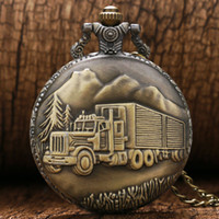 Wholesale Antique Big Size Big Truck Pocket Watch Retro Bronze Watches Gift Men Women Necklace