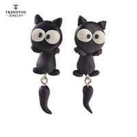 Trendyou Bijoux faits à la main Polymer Clay Ear Studs Femmes Aimés 2016 Nouvelles Boucles d'oreilles Cute Fashion Black Cat Boucles d'oreilles en gros RTED007