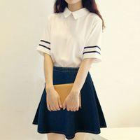 2016 venta caliente de la manera botón AA American Apparel sólido ocasional del dril de algodón del círculo de Jean mini falda de algodón del envío