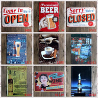 Wholesale Hot sales quot Closed Open Beer quot retro iron metal wall painting Tin signs Vintage poster Art House Cafe Bar wall stickers home decor x30 CM