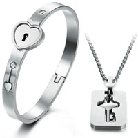bezel locks - 2016 New Eternal Love Stainless Steel Heart Lock Keys Bracelets Bangles Titanium Necklace Couples Fashion Silver Jewelry