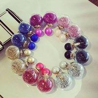 Wholesale Hot Sale New Glass Double Diamond Earrings Zircon Sand Crystal Ball Earrings Seven Colors Fashion Earrings With Diamond For Women
