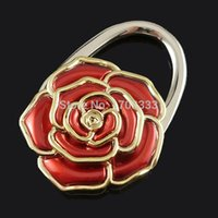 Wholesale Beautiful D White Rose Padlock Shape Purse Hook Hanger Vanity Fair Foldable Handbag Bag Hanger