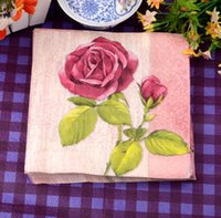 baby shower roses - Low prices selling Wedding Color Paper Virgin Wood napkins Handkerchief roses bridal baby shower party decorations A1
