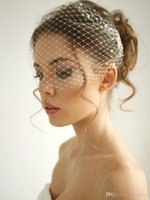 Wholesale classicPearl Birdcage Wedding Veil Russian Netting Headband Veil Bridal Accessories With Metal Combes Short Veil For Brides