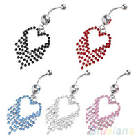 Wholesale Crystal Heart Tassels Dangle Navel Belly Button Bar Barbell Ring Body Piercing MXS