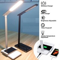 Wholesale LED Desk Lamp touch control table Lamp With Qi Wireless USB Charger Dimmable Eye caring lamp timer poweroff lamp color modes