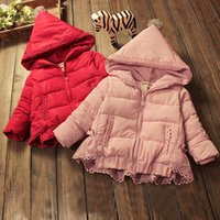 Wholesale 2016new winter Kids down coat cotton padded jacket European and American style girl outwear clothing warm Lace Hat hooded for years ol
