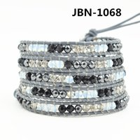 wholesale hematite jewelry - New arrival fashion charm jewelry mm hematite crystal beaded on leather Braided bracelets layer hematite beaded male bracelets JBN