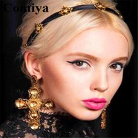 Wholesale arrings Dangle Earrings Comiya fashion Big gold filled india cross earrings for women pendientes largos statement earring cc brincos