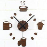 Wholesale wooden d DIY black Acrylic mirror Stickers Modern Home Decoration tableware mugs hanging Wall Clocks bar restaurant