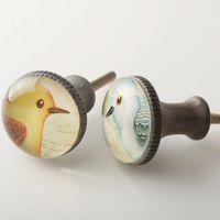 american retro shoes - American Pastoral bird pattern retro round handle drawer cabinet shoe bookcase white Mediterranean small handle