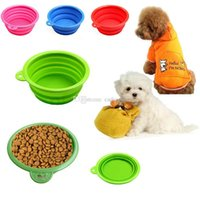 Wholesale New Collapsible Dog Cat Pet Silicone Travel Feeding Bowl Water Dish Feeder J00022 SMAD