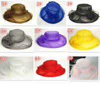 Wholesale 30pcs HOT sale Color Fashion Designer Women Church Hats Kentucky Derby flower Organza Ladies Hat Female Summer Caps D816
