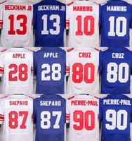 apples man - NIK Elite Giants jerseys cheap rugby football jerseys BECKHAM JR MANNING CRUZ PIERRE PAUL SHEPPARD APPLE white blue