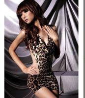 adult leopard onesie - New Stylish Sexy Women s Deep V Neck One Piece Lingerie Leopard Print Backless Dressing Onesie Sleepwear Nightwear