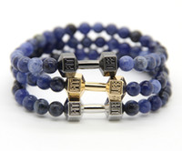 alloy fitness - 2016 New Design Men s Jewelry Made by mm Natural Blue Veins Stone Beads with Alloy Metal Fitness Dumbbell Charm Bracelets