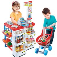 Wholesale Supermarket Sets Supermarket Checkstand Sets Role Play Toys for Cashier Desk with Electriccal Scaner Shopping Trolley