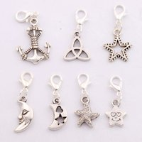 antique knotted - 70pcs mixed Antique silver Star Moon Knot Anchor Clasp European Lobster Trigger Clip On Charm Beads CM5 Styles