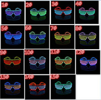40pcs 15 COULEURS El Fil Mode Neon LED Light Up Shutter forme Glow Lunettes Rave Costume Party DJ SunGlasses flash D804