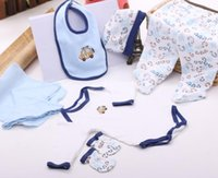 Wholesale newborn baby gift clothing set cotton blue and pink