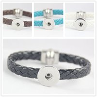 Wholesale 2016 Bright knitted Leather Button Charm Magnetic Snap Bracelet fit DIY Interchangeable MM Noosa Ginger Snap Button Chunks Bangle Jewelry