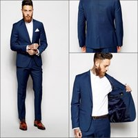 Wholesale Luxury Blue Man Tuxedo Suits In Stock Formal Groom Suits Real Image Slim Fit Wedding Suit For Men Jacket Pants Vest