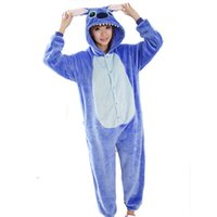 men cotton pajamas set - Lovers Stitch Unisex Adults Flannel Hooded Pajamas Cosplay Cartoon Animal Onesies Sleepwear For Men Women