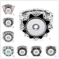 Wholesale NEW Noosa Crystal Flower Button Ring Hot sale high quality fashion DIY metal Adjustable ring fit ginger MM mm snap button rings jewelry