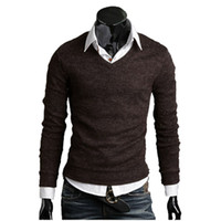 Wholesale New Arrival Autumn Men s Knit Sweater Thick Plush Wool V neck Sweater Bottoming Size Colors