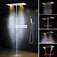 bath mixer valve - embed ceiling Bath Shower Mixer Faucet Set Six Handle Waterfall Rain Shower Set Faucet with Handshower and high flow thermostatic valve