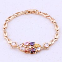 Wholesale Pretty Multicolor Multigem K Gold Plated Bracelet For Women Fashion Jewelry F0006