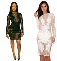 Wholesale Sexy perspective lace flowers Black dress Nightclub skirt KF643