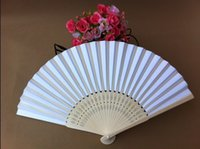 Wholesale In stock pieces to sell white bridal fans hollow bamboo handle wedding accessories Fold paper fans personalized DIY