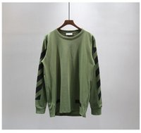 Wholesale 2016 New hip hop Pyrex C O Virgil Abloh OFF WHITE sweatshirt CUT OFF Striped arrow print men fashion cotton pullover