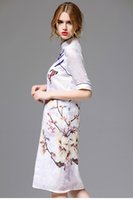 Wholesale Summer the new Chinese cheongsam button print dress of cultivate one s morality show thin silk linen skirt