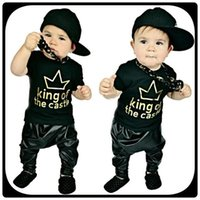 baby leather vest - 2016 sets Toddler Baby Boy King of the Castle T shirt Faux Leather Harem Pants Outfits Set