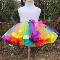 ballet dance wear toddler - 2016 Fashion Rainbow Color Toddler Kids Girls Party Ballet Dance Wear Tutu Skirt Dress Pettiskirt Costume