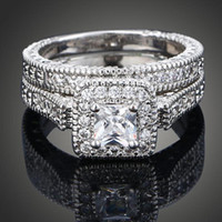 Wholesale Brand New White Gold Planted Stackable Solitaire AAA CZ Diamond Engagement Couple Rings GE01200