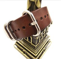 Wholesale High quality MM MM MM Nato strap genuine leather dark coffee color Watch band NATO straps zulu strap watch strap