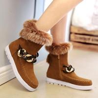 al por mayor botas de invierno de la cremallera para las mujeres-Mujeres cómodas botas de nieve de invierno Mediados de Heel Zipper Round Toe Botas de tobillo corto con decoraciones de metal Warm Women Shoes Tamaño 34-43