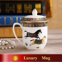 Wholesale Porcelain mug bone china luxury mugs the god horses design outline in gold ceramic coffee mug with lid