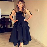 Wholesale Sheer Ankle Length Robe - 2016 Elegant Middle East Black Evening Dresses with Half Sleeve Crew Neck Sheer Appliques Ankle Length Short Prom Party Dress Robe De Soiree