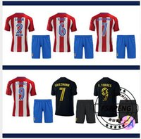 Wholesale 2016 soccer jersey A Quality Atletico Madrid football suit Home red Away black Soccer uniform sets GRIEZMANN F TORRES JACKSON KOKE foot