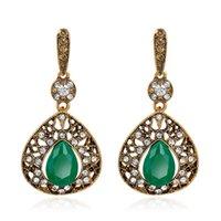 alloy earings - Fashion Hook Earrings For Women Jewery Retro Dangle Chandelier Ladies Wedding Earings Water Eardrop Classic Rhinestone