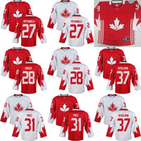 Cheap Mens Team Canada 31 Carey Price 37 Patrice Bergeron 50 Corey Crawford 44 Vlasic 2016 World Cup of Hockey Olympics Game White Jersey Stitched