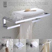 Wholesale Han Pai Brass Luxury Bathroom Accessories Wall Mounted Towel Rack Ring Holder Toilet Paper Holder Acessorios de banheiro Set HP7744