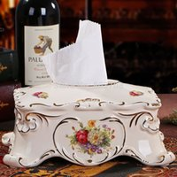 Wholesale 2015 high grade ivory porcelain paper box ceramic tissue box pumping paper napkins European royal retro luxury table ornaments