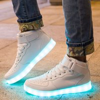 Wholesale New Skate kids skateboard shoes Light shoes LED high luminous shine couples men and women shoes light star with a shiny leather shoes